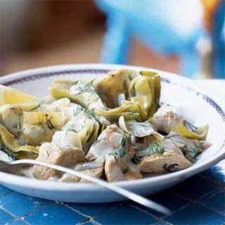 Veal-and-Artichoke Stew with Avgolemono.
