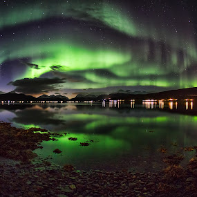 Triple swirl by Rune Nilssen - Landscapes Beaches ( k3, fisheye, aurora borealis, northern lights, aurora, pentax, 10mm, troms, norway, balsfjord, northlicht, borealis, nordkjosbotn, sigma, night,  )