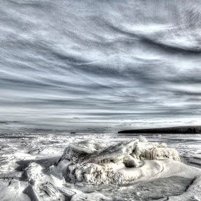 Monochrome Day on a Frozen Lake Superior by Marilyn Magnuson - Landscapes Cloud Formations ( winter hikingi, clouds, winter, ice, snow, lake superior, hiking )