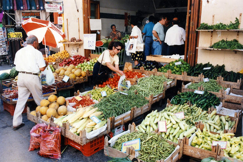 A fresh produce market in Heraklion, the largest city on Crete.