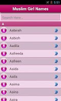 Screenshot of Muslim Baby Names and Meaning!