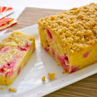 Raspberry Cornbread Loaf with Cornmeal Oat Crumble.