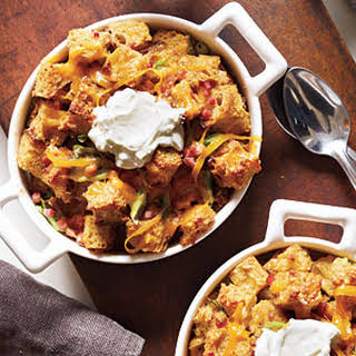 Savory Bread Puddings with Ham and Cheddar.