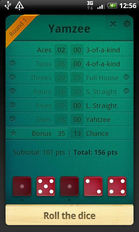 Yamzee- screenshot