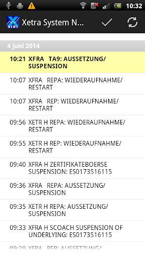 System News for Xetra