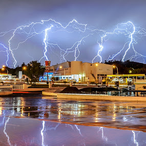 Strikes in the suburbs by Alexius van der Westhuizen - Landscapes Weather ( lightning, johannesburg, thunderbolts, south africa, summer storms, electric storms,  )