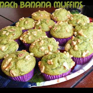 St. Patrick's Day Breakfast - Spinach Banana Muffins.