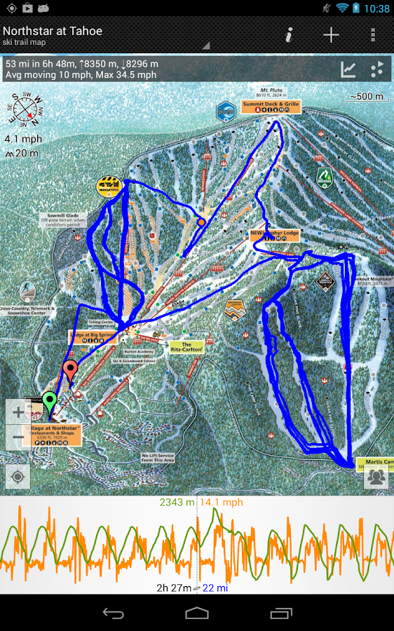GPS on ski map- screenshot