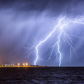 Navel Base Strike by Steve Brooks - Landscapes Weather ( canon, lightning, weather, rockingham, cloud, ocean, navy, storms, garden island, rain, western australia, navel base,  )
