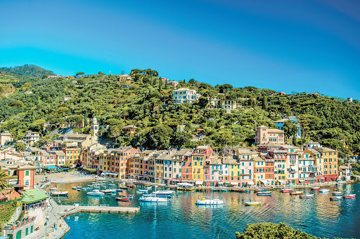 Portofino-Italy-waterfront - Portofino, a small, colorful port on the northwest coast of Italy known for its upscale shopping and dining during your cruise aboard Tere Moana.