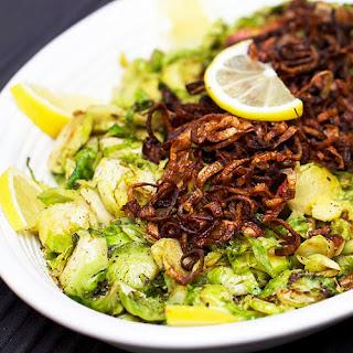 SHREDDED PAN-BROWNED BRUSSELS SPROUTS with CRISPY FRIED SHALLOTS