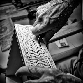 Wood Carver by Alan Roseman - Black & White Objects & Still Life ( hand work, skill, turner, craftsman, carving, woodwork, woodworker,  )