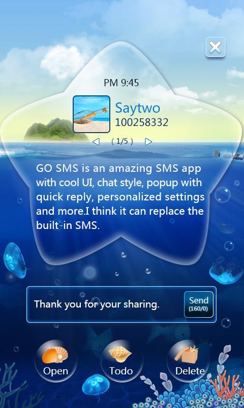 GO SMS Pro OceanStar Popup ThX APK 1 6 Download - Free Communication