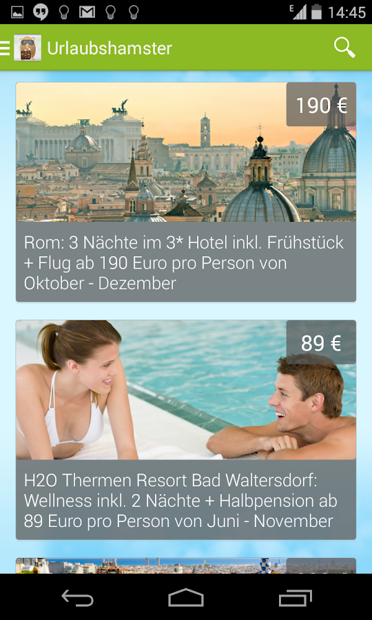 Urlaubshamster.at - Reisedeals – Screenshot