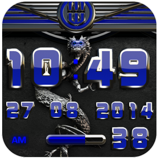 dragon digital clock blue