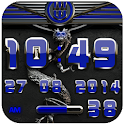 dragon digital clock blue icon