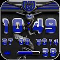 dragon digital clock blue icon