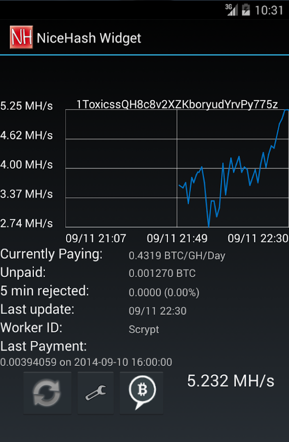 NiceHash Widget - screenshot
