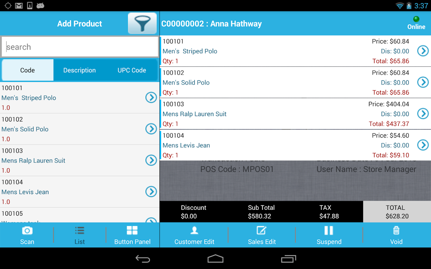iVend POS- screenshot