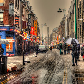 Colors of winter by Piotr Owczarzak - City,  Street & Park  Street Scenes ( shoreditch, uk, winter, hdr, london, street, , snow, cold )