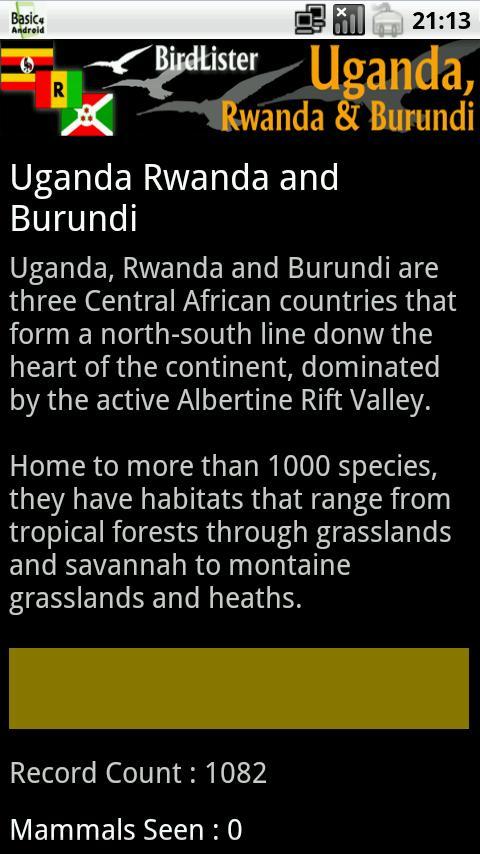 BirdLister Uganda- screenshot