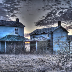 Abandoned by Elk Baiter - Buildings & Architecture Decaying & Abandoned ( farm, home, fog, blue, sunset, house, decaying, zombies, abandoned,  )