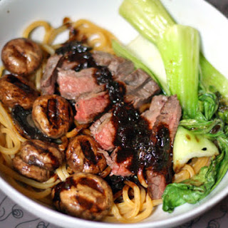 Noodles with Flank Steak, Bok Choy, and Black Bean Sauce