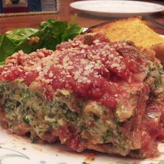 Vegan Lasagna with Tofu Spinach Ricotta.