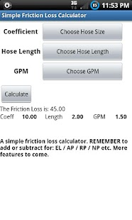 Friction Loss Calculator - screenshot thumbnail