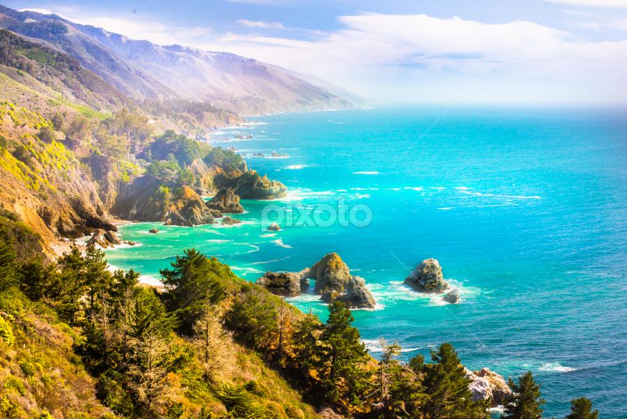 Big Sur coast by Kathy Dee - Landscapes Waterscapes ( water, rocky, california, tourism, ocean, travel, coastal, coast, amazing, vacation, sur, blue, aqua, big, rocks,  )