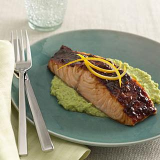 Glazed Salmon With Edamame