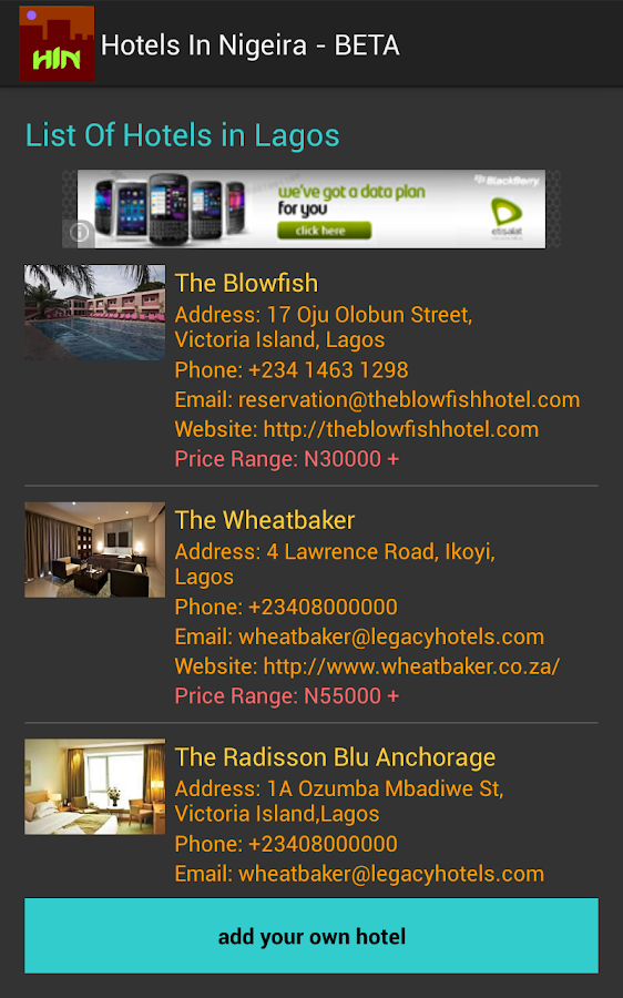 Hotels In Nigeria - screenshot