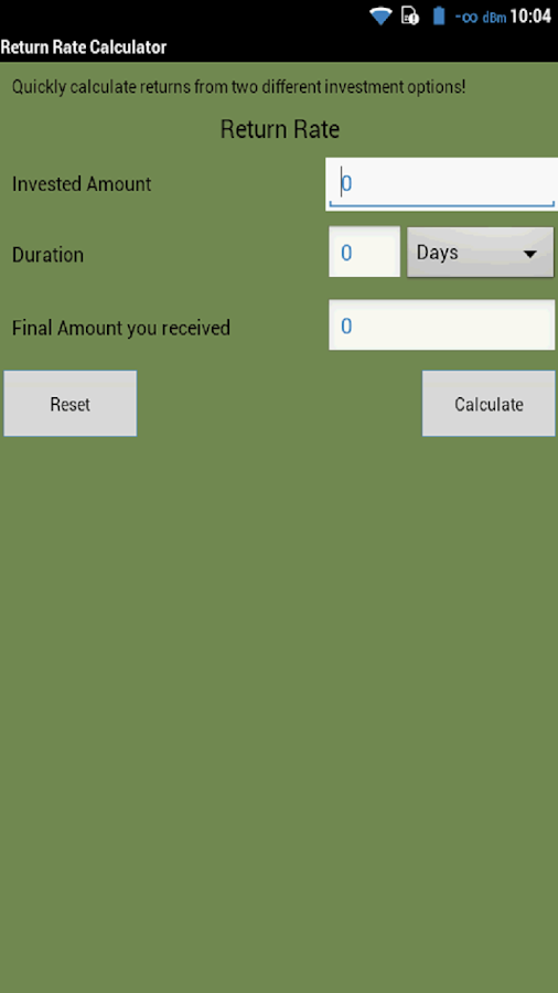 Return Rate Calculator Free- screenshot