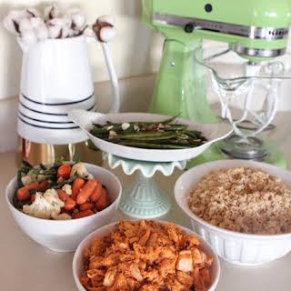 Spicy Honey Chicken Vegetable Rice Bowls.