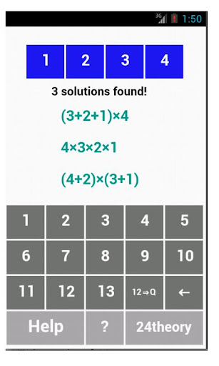 4 Numbers game solver