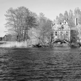 The Lake House by Amanda Dacey - Black & White Landscapes ( lake, house, black + white )