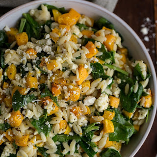 Orzo with Butternut Squash, Spinach & Blue Cheese.