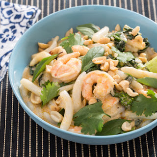 Tom Yum Shrimp & Fresh Rice Noodles with Gai Lan & Thai Basil