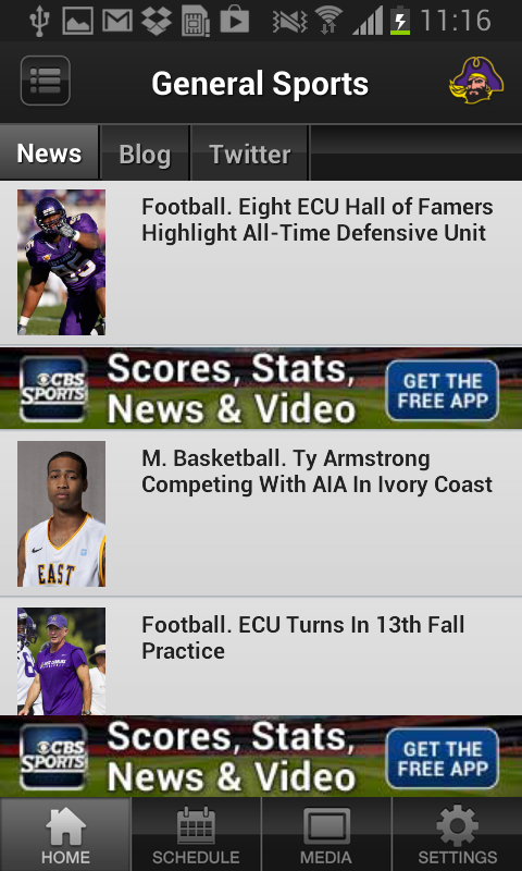ECU Pirates Sports - screenshot