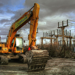 excavator by Kevin Towler - Uncategorized All Uncategorized ( site, hdr, excavator, machine, construction,  )
