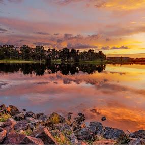 Yerrabi Pond Sunrise by Peter Hoek - Landscapes Sunsets & Sunrises