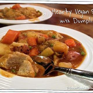 Hearty Vegan Stew with Dumplings.