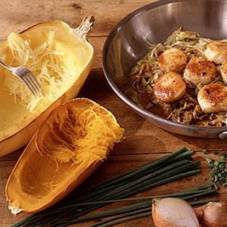 Sauteed Scallops over Spaghetti Squash.