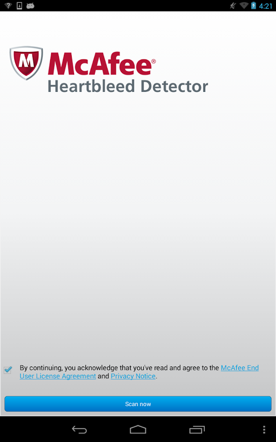 McAfee Heartbleed Detector- screenshot