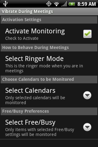 Vibrate During Meetings- screenshot