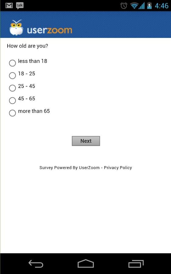 UserZoom Surveys- screenshot