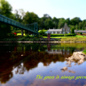The other side by Shona McQuilken - Typography Captioned Photos ( scotland, reflection, grass, green, cloud, caption, pitlochry, bridge, quotation, miniature, river )