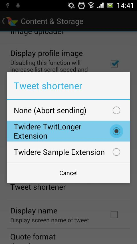 Twidere TwitLonger Extension - screenshot