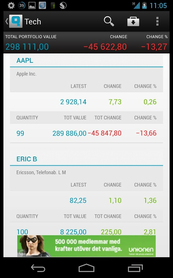 NASDAQ Qfolio - screenshot