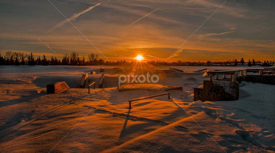 Sunset In City Park by Joseph Law - Landscapes Sunsets & Sunrises ( sunset, snow, play ground, trees, edmonton, millwood park )